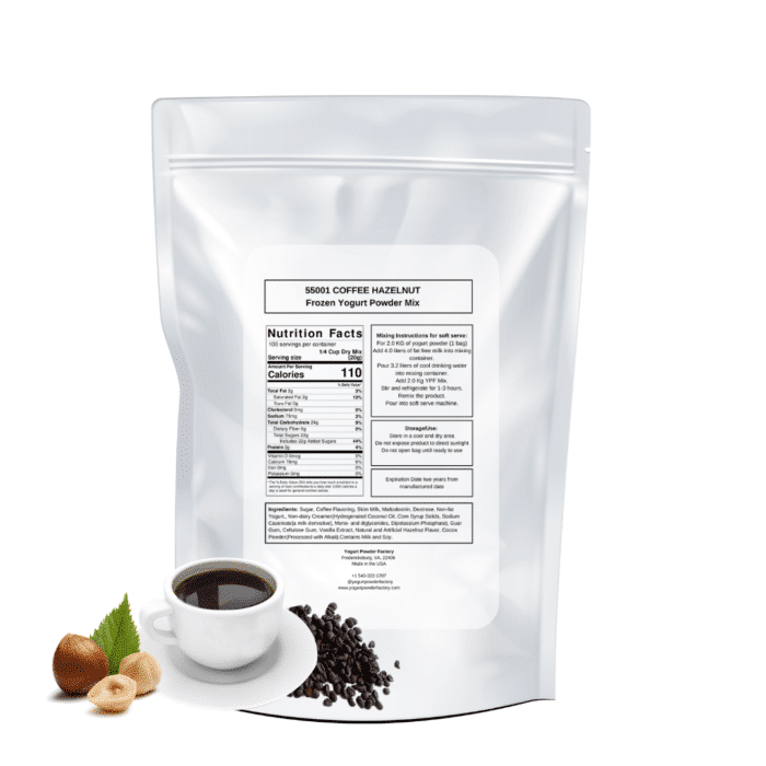 Coffee Hazelnut Soft serve frozen yogurt back of bag nutrition facts