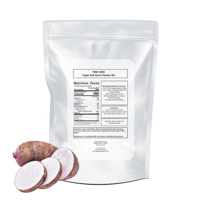 back vegan taro label